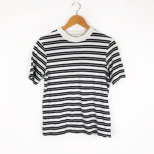 Everlane Cotton Mockneck Tee Black White Stripe